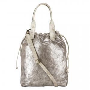 silver printed leather handbag