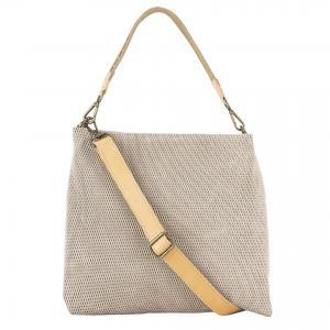perforated leather handbag sand color