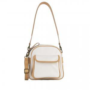 shoulder bag in cream calf leather