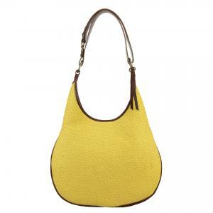 yellow fabric handbag