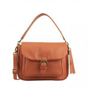 Orange leather handbag