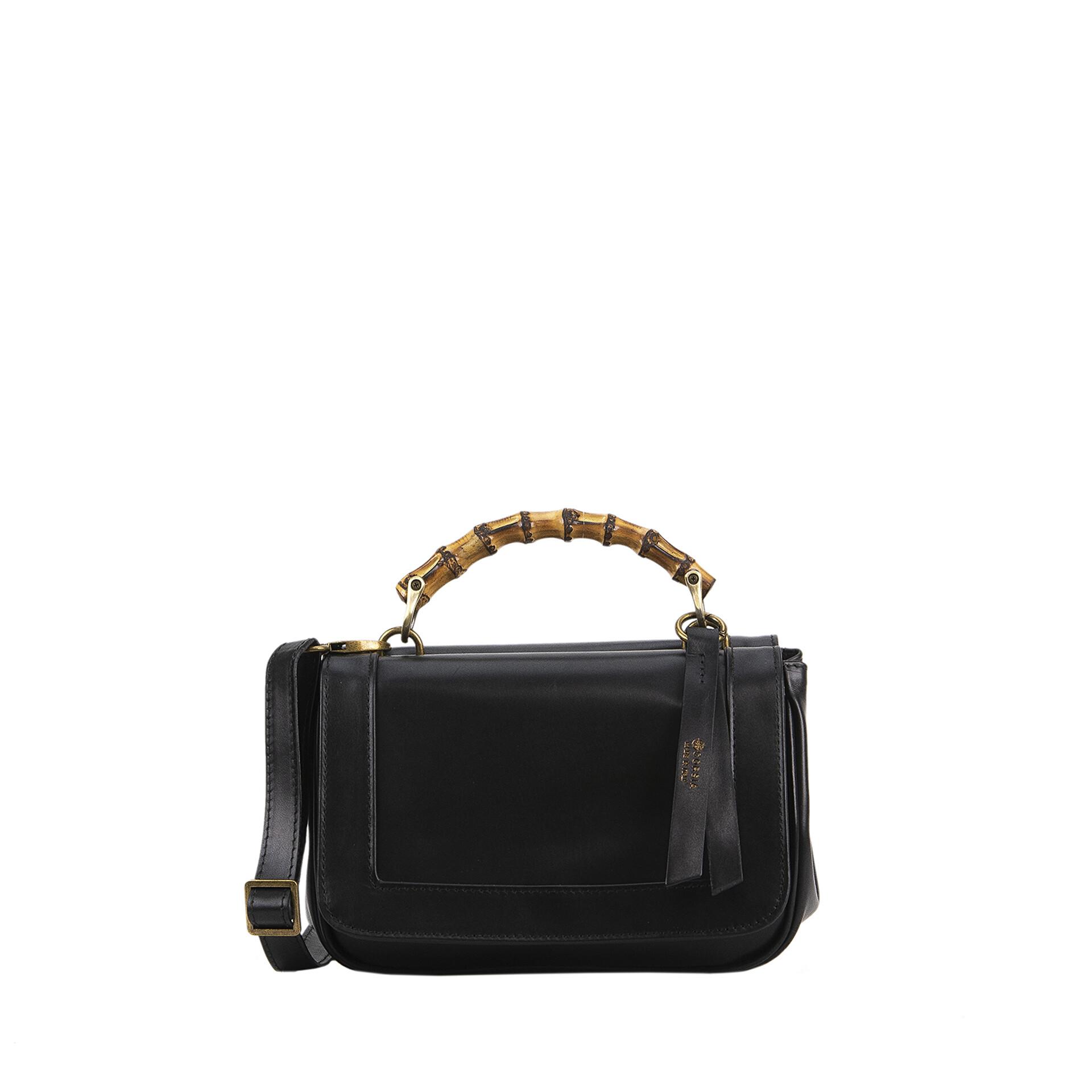 black nappa leather handbag made in Italy