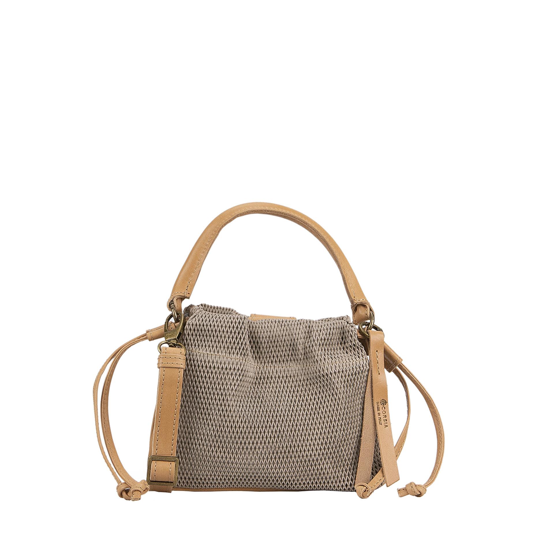 sand color leather handbag