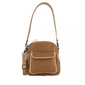 shoulder bag in camel leather