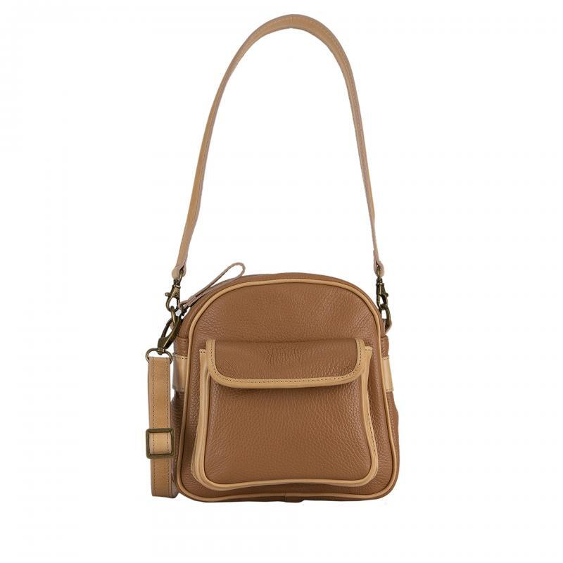 shoulder bag in camel leather
